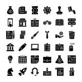 Business And Finance Solid Icons Set vector illustration