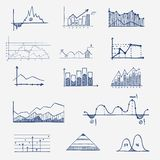 Business finance statistics infographics doodle. Hand drawn elements. Concept - graph, chart, arrows signs Royalty Free Stock Photo