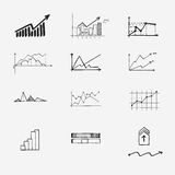 Business finance statistics infographics doodle. Hand drawn elements. Concept - graph, chart, arrows signs Royalty Free Stock Photography