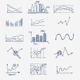 Business finance statistics infographics doodle. Hand drawn elements. Concept - graph, chart arrows signs search earnings money profit Stock Photos