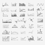 Business finance statistics infographics doodle. Hand drawn elements. Concept - graph, chart arrows signs search earnings money profit Royalty Free Stock Photography