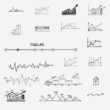 Business finance statistics infographics doodle. Hand drawn elements. Concept - graph, chart arrows signs search earnings money profit Stock Photography