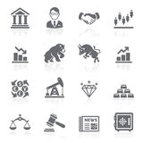 Business and finance stock exchange icons. Royalty Free Stock Photos