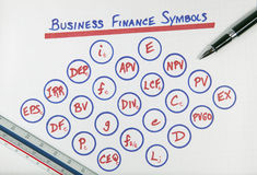 Business Finance Symbols Diagram. On white grid paper with pen and ruler stock images