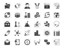 Business and finance symbols. Monochrome icons set isolate on white background. Business finance icon, investment and crowdfunding, exchange money and startup Stock Images
