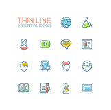 Business, Finance Symbols - thick line design icons set Royalty Free Stock Images