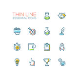 Business, Finance Symbols - thick line design icons set Royalty Free Stock Image