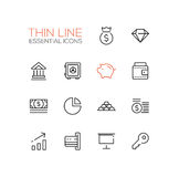 Business, Finance, Symbols - thick line design icons set. Business, finance symbols - set of modern vector thick line design icons and pictograms. Money bag Royalty Free Stock Photos