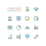 Business, Finance, Symbols - thick line design icons set. Business, finance symbols - set of modern vector thick line design icons and pictograms. Money bag Stock Photo