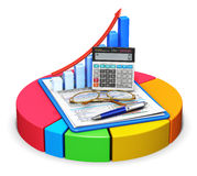 Accounting and statistics concept. Business finance, tax, accounting, statistics and analytic research concept: office electronic calculator, bar graph, pen and Stock Photography