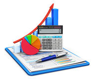 Finance and accounting concept. Business finance, tax, accounting, statistics and analytic research concept: office electronic calculator, bar graph and pie Royalty Free Stock Images