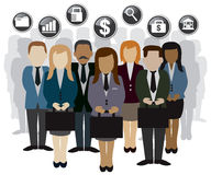 Business and finance team peoples. Business and finance related peoples and silhouette vector Stock Photos