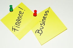Business and Finance text on sticky note Stock Photo