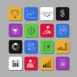 Business and Finance vector icons. Hand drawn isolated elements for web and mobile concepts. Money, Payments, Financial Safety modern infographic Royalty Free Stock Images