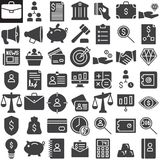 Business finance vector icons set. Modern solid symbol collection, filled pictogram pack. Signs, logo illustration. Set includes icons as redit card, scales Stock Photography