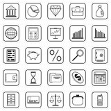 Business and finance vector icons. A set of business and finance contour vector icons Stock Photo