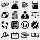 Business & Finance vector icons set on gray. Royalty Free Stock Photo