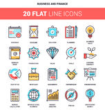 Business and Finance. Vector set of business and finance flat line web icons. Each icon with adjustable strokes neatly designed on pixel perfect 64X64 size grid Royalty Free Stock Image
