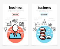 Business Finance Vertical Banners. With businessman lightbulb graph cloud calendar percent diagram briefcase document coins line icons vector illustration Stock Photo