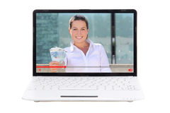 Business, finance and video blog concept - laptop with woman holding money on screen isolated on white. Background stock photos