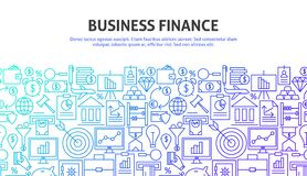 Business Finance Web Concept. Vector Illustration of Line Website Design. Banner Template Royalty Free Stock Photography