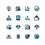 Business and finance web icon. Business and finance related duotone icons set Royalty Free Stock Photos