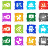 Business and Finance Web Icons. In grunge style for user interface design Stock Image