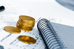 Business of financial analitics desktop Stock Photography