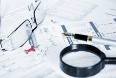 Business of financial analitics desktop Stock Images