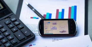Business of financial analysis of workplace Stock Photos