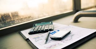 Business of financial analysis of workplace Stock Image
