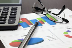 Business of financial analytics. On wood table Stock Photography