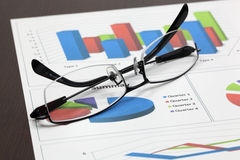 Business of financial analytics. On wood table Royalty Free Stock Images