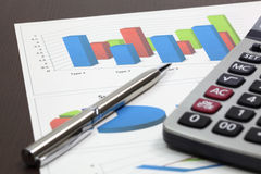 Business of financial analytics. On wood table Stock Images