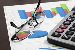 Business of financial analytics. On wood table Royalty Free Stock Image