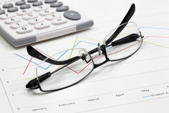 Business of financial analytics. Business of financial analysis of workplace Royalty Free Stock Photo