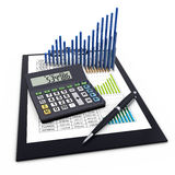 Business Financial Analytics Concept. Calculator, clipboard and graph Stock Images