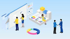 Business financial analytics reports. Teamwork. Business cooperation. B2B. 4K video animation