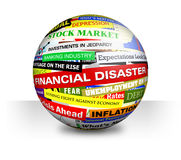 Business Financial Bad Economy Headlines. A 3d ball on a white, isolated background with economy, money and financial headlines Royalty Free Stock Photo