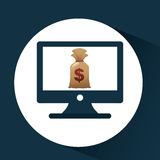 Business financial bag money online icon. Vector illustration eps 10 Stock Photo