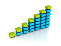 Business financial bar chart graph on white background. 3d render illustration Stock Images