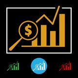 Business Financial Chart Icon. Business financial bar chart icon with dollar sign and magnifying glass. Vector illustration Stock Photography