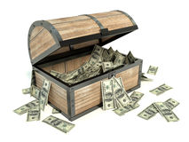 Business and Financial Concept. Chest and bunch of dollars Royalty Free Stock Photo