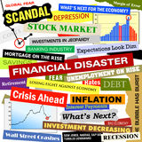 Business Financial Disaster Bad Economy Headlines. Headlines of the bad business economy and economic disaster cutouts in various fonts and colors. There are Stock Photography