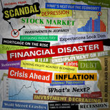 Business Financial Disaster Headlines. Headlines of the bad business economy and economic disaster cutouts in various fonts and colors. There are also some