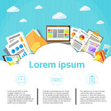 Business Financial Documents Cloud Graph Laptop stock illustration