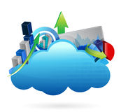 Business financial economy Cloud computing concept. Illustration design over white Royalty Free Stock Photos