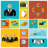 Business And Financial Flat Icon Set. Design Template Vector Illustration
