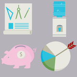 Business Financial Flat Icon Set Stock Photos