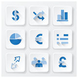 Business Financial Flat Icons Set. Design Royalty Free Stock Image